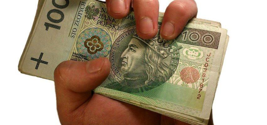 dłoń z banknotami 100 zł